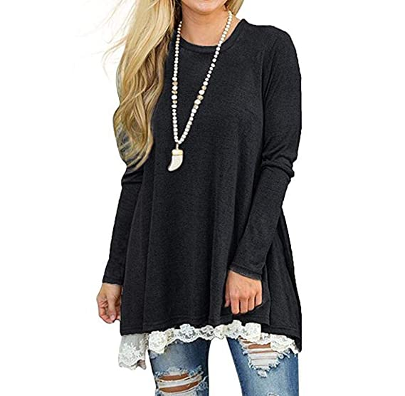 656822f2d77 Image Unavailable. Image not available for. Color  Wouke Womens Lace Long  Sleeve Scoop Neck A-Line Tunic Tops Blouse Shirt Legging
