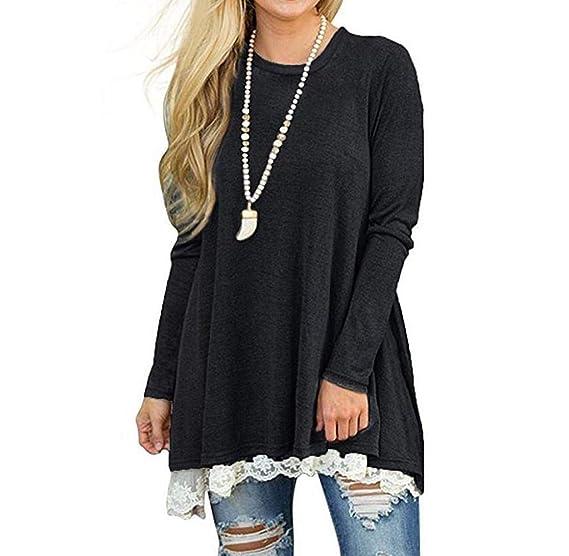 d5d0e649d8d0 Image Unavailable. Image not available for. Color  Wouke Womens Lace Long  Sleeve Scoop Neck A-Line Tunic Tops Blouse Shirt Legging