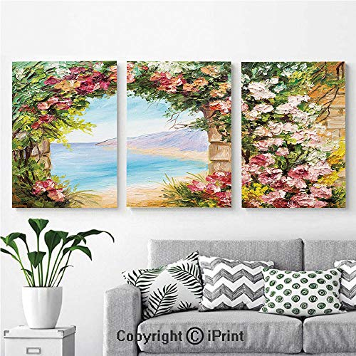 (Modern Salon Theme Mural Old Antique Arch Covered by Rose Petals Branches Romantic Italian Panorama Sea Print Decorative Painting Canvas Wall Art for Home Decor 24x36inches 3pcs/Set, Multicolor)
