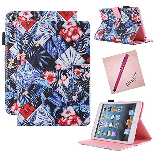 iPad Mini Case, iPad Mini 2 Case, iPad Mini 3 Case, Alugs Lightweight Slim Fit PU Leather Folio Flip Stand Smart Case Cover with Auto Wake/Sleep Feature for Apple iPad Mini 1/2/3 (Lucky Flower) (Wake Flowers)