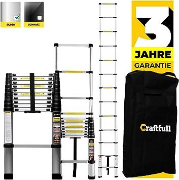 Escalera telescópica de aluminio Craftfull – Bolsa de transporte – Marca de calidad alemana – 2/2,6/2,9/3,2/3,8/4,1/4,4 metros – Escalera de aluminio, Plateado: Amazon.es: Bricolaje y herramientas