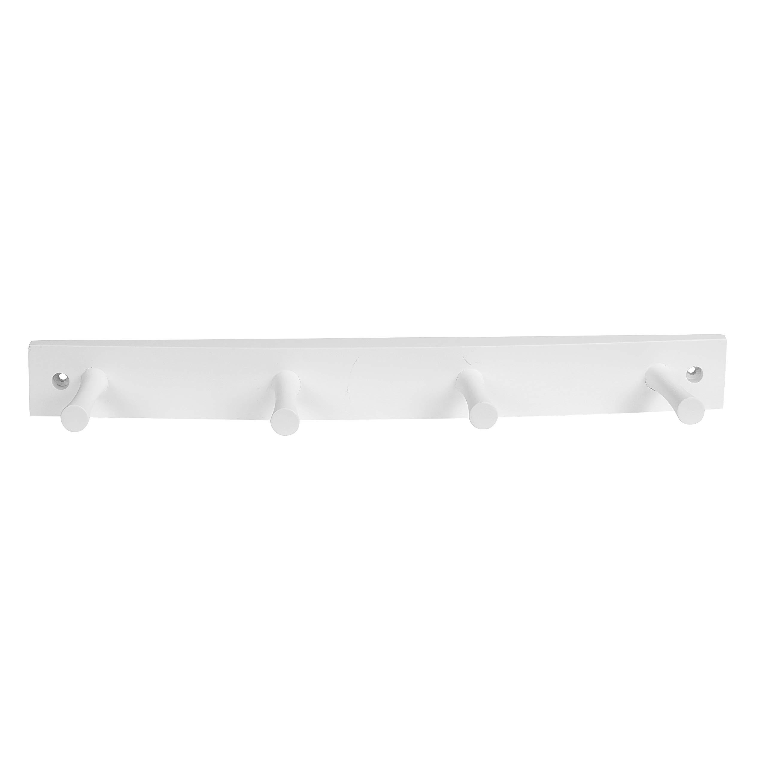 Spectrum Diversified Wood Hook Rack, 4 Peg, White