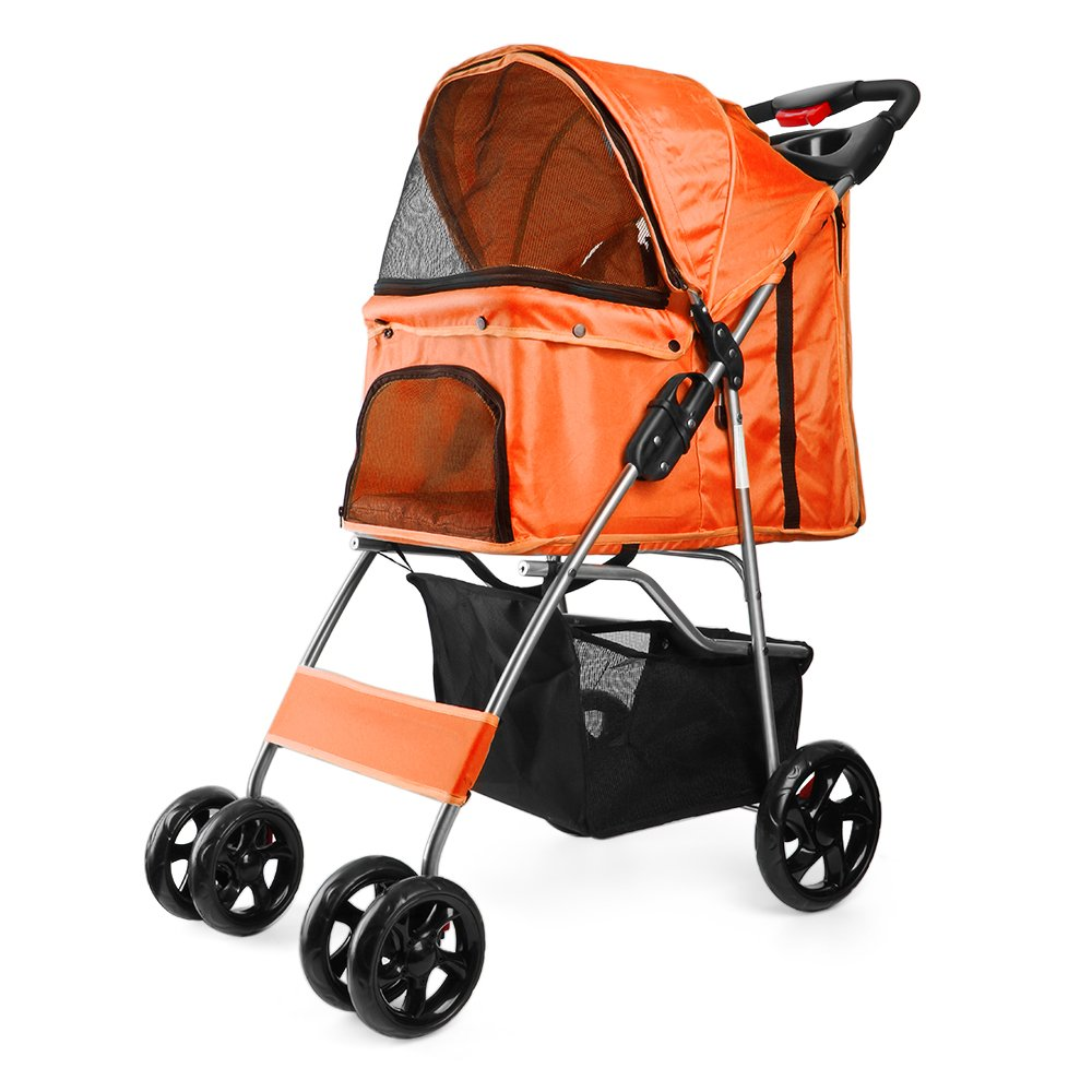 Pet Stroller (orange) Dog Cat Small Animals Carrier Cage 4 Wheels Folding Flexible Easy Walk for Jogger Jogging Travel Up to 30 Pounds With Rain Cover Cup Holder and Mesh Window