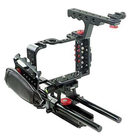 Filmcity Camera Cage Rig Rail Support for Sony A7s | Sony a7s Accessories (FC-A7S-C) Tripod Bushings at amazon