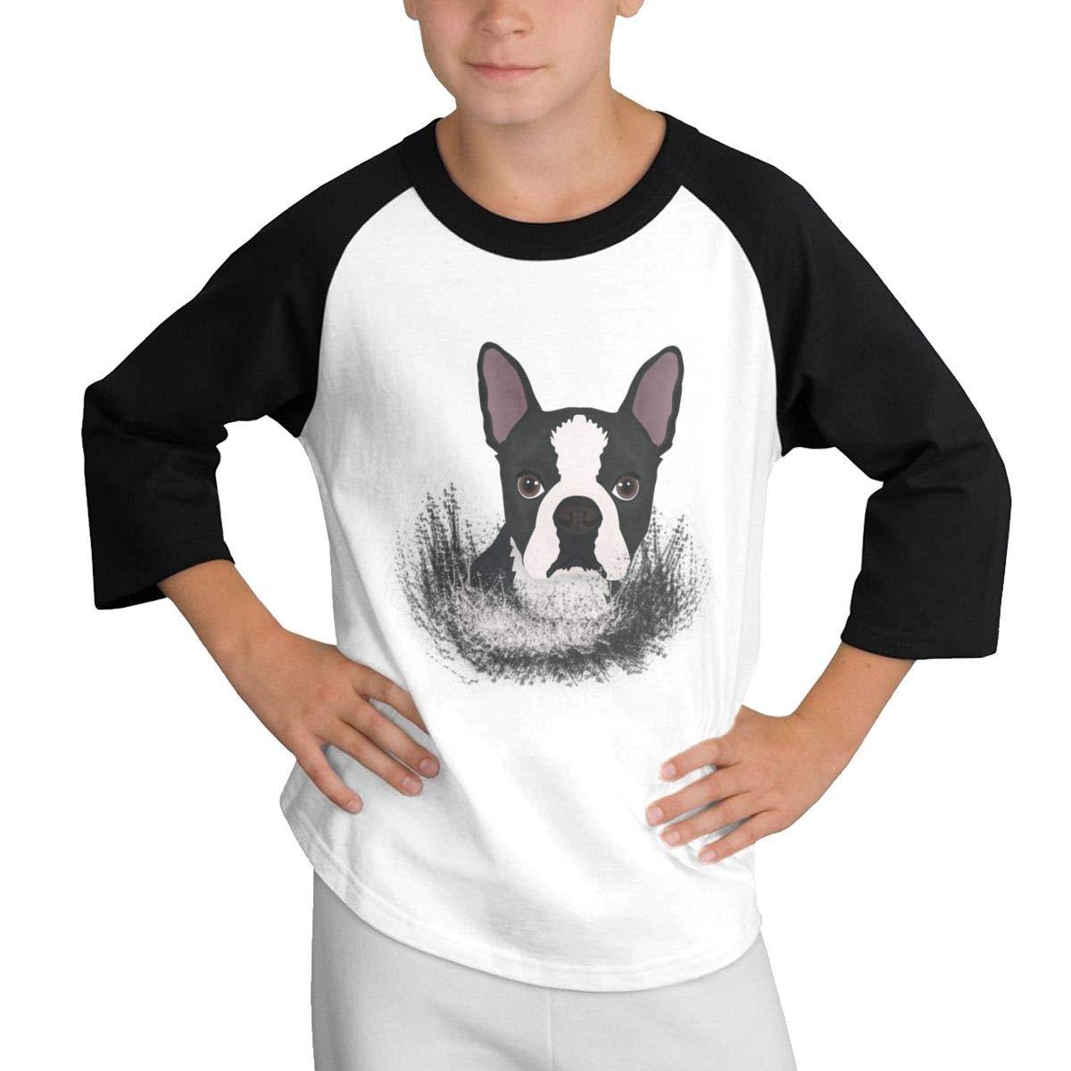 Qiop Nee Puppy Boston Terrier Dog Raglan 3//4 Short-Sleeve Tshirts Youth Girl Boys