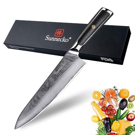 Cuchillos de Cocinero 8 pulgadas - Sunnecko Cuchillo Professional de Cocina Cuchillo Utilitariode 20cm - Acero Damasco Japonés - Hoja Extra Afilada ...
