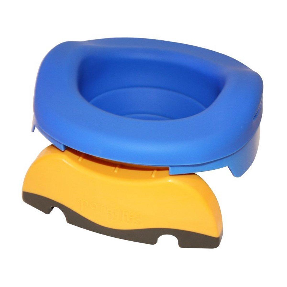 Potette Plus Reisetöpfchen, Kinder-Toilettensitz, 3 in 1 mit wiederverwendbarem Gummieinsatz + 10 Einweg-Nachfüllpackungen.