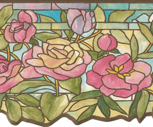 Wallpaper Border Victorian Floral Stained Glass Pastel Pink Blue Green Gold