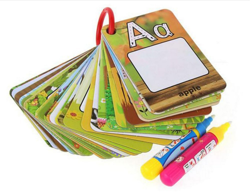 Chidren's Early Education Cognitive Cards,Reusable Water Reveal Word Card, Water Drawing Doodle Card Book, Doodle Pad, Word Flash Card, Water Painting Graffiti Book Card Magic Drawing Pens for Toddler