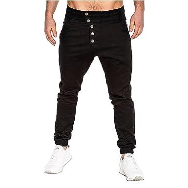 Cebbay Pantalones de chándal para Hombres Cuerda Suelta de Ancho ...