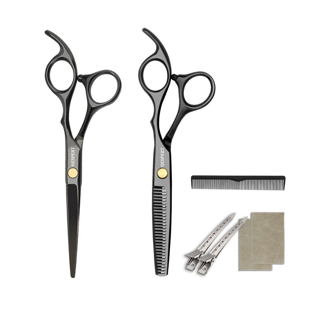 GESPERT Professional Hair Cutting Shears/Scissors Thinning/Texturizing Set, Size 6 Inch,with Hair Comb, for Personal and Professional Barber