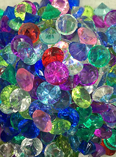 SunRise 480+ Pieces Multi-Colored Acrylic Diamond Shape Pirate Treasure Jewels for Party Decoration,Event,Wedding, Vase Fillers, Arts & - Multi Gold Colored Gems