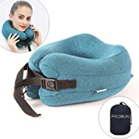 PROMUN Super Soft Head and Neck Support Travel Pillow, Premium Memory Foam U Shape Pillow with Small Bag, 360-Degree Protection for Airplanes, Cars, Buses, Trains, Office Napping, Camping