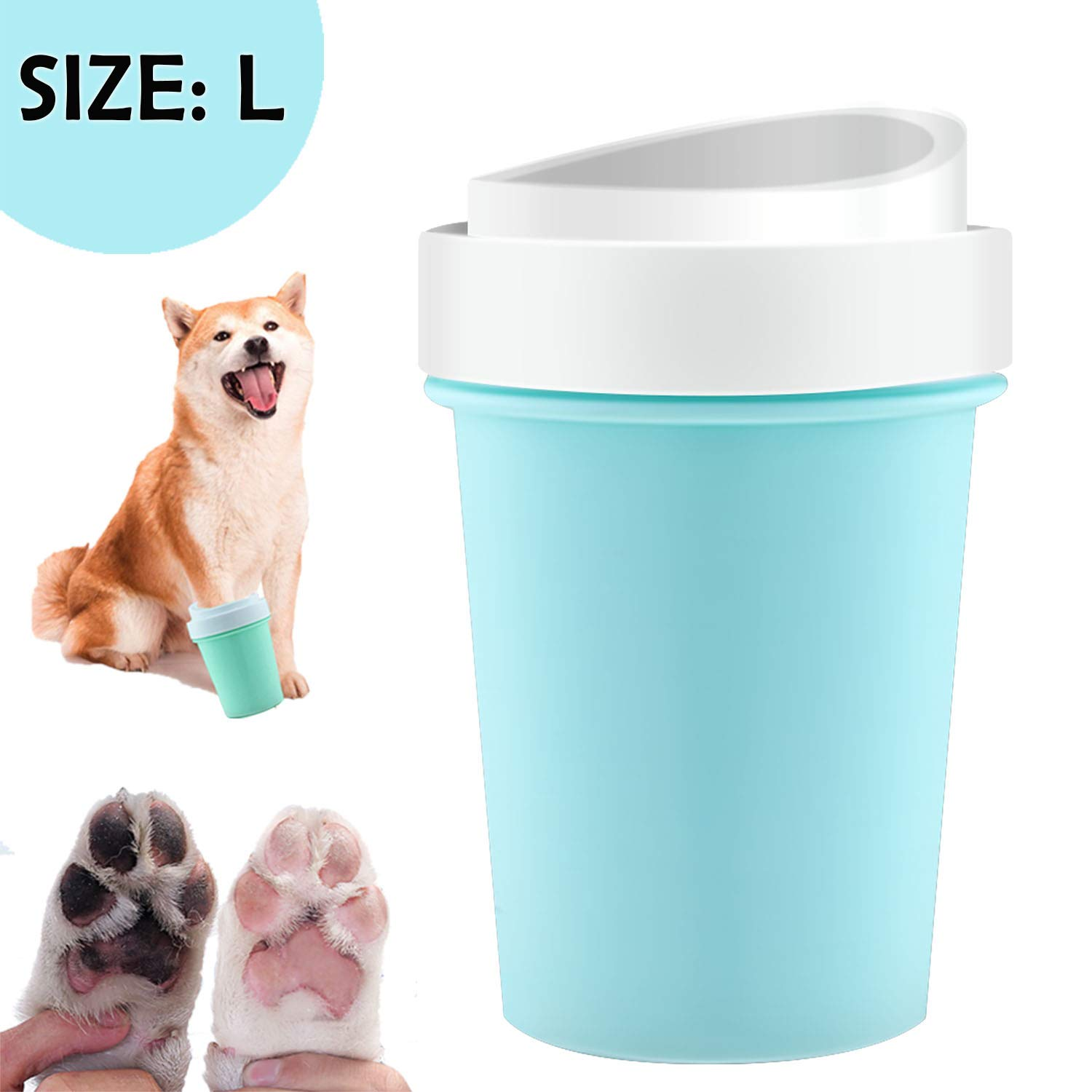 bealy Portable Dog Paw Cleaner Large Pet Paw Cleaner for Dogs Foot Washer Muddy Paws Cleaner with Soft Silicone