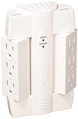 Globe Electric 6-Outlet Swivel Space Saving 2 USB Port Surge Protector Wall Tap, Android, iPad, iPhone, iPod Compatible, 2100 Joules, 2.1 AMP Charge, White Finish 7791301