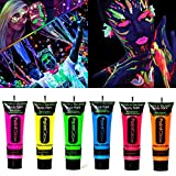 Beross Glow in Dark Face Body Paint 0.85oz UV Blacklight Neon Fluorescent Non-Toxic Washable Safe On Skin Set of 6 Tubes