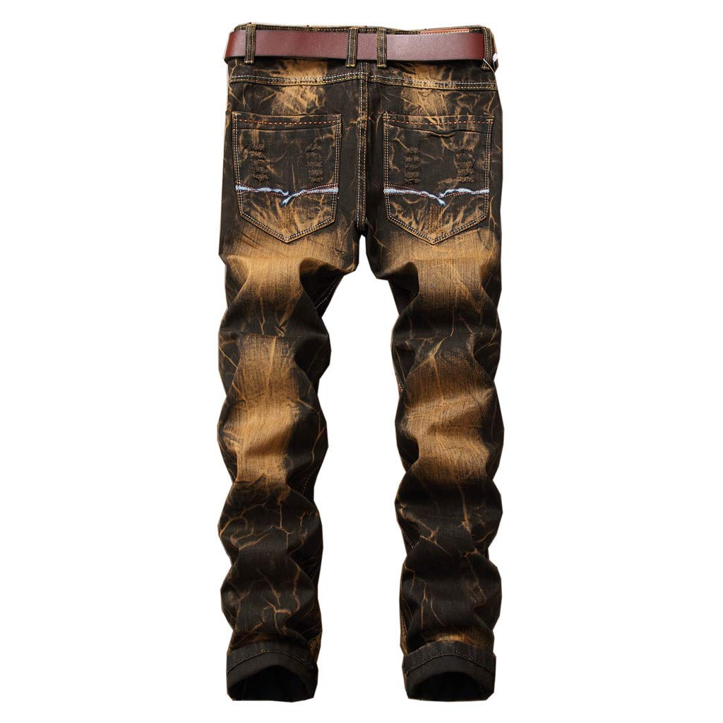 Mens Vintage Broken Holes Jeans Fashion Teen Boys Folds Wash Frayed Printed Zipper Basic Denim Pants