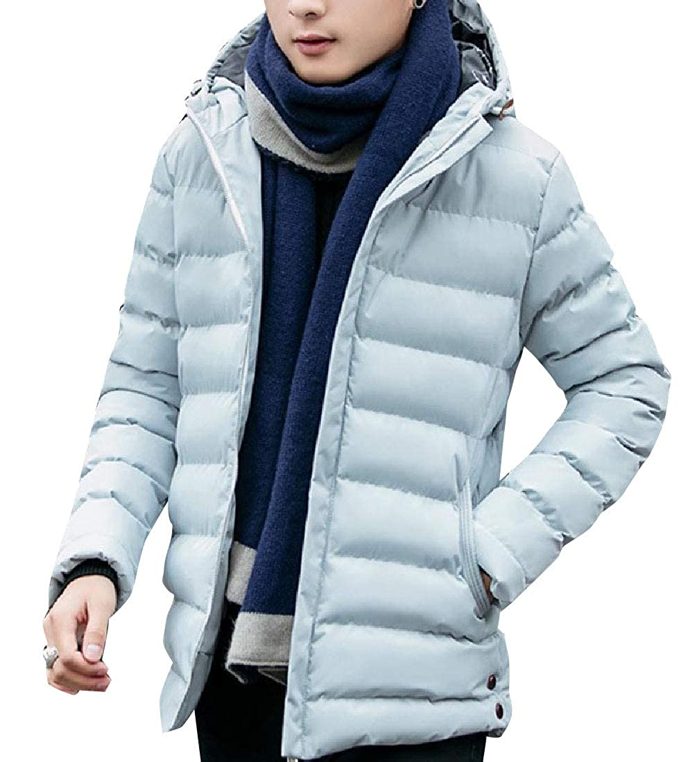 Zimaes-Men Windproof Stay Warm Padded Parka Jackets with Strings