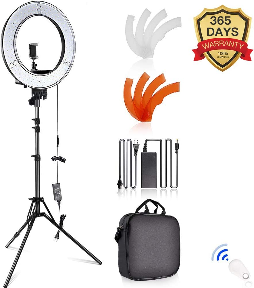 SAMTIAN Caméra Photo Vidéo Eclairage Kit: 14 Pouces Extérieur 45W 5500K Réglable LED Lumière Anneau, Trépied d'Eclairage, Récepteur Bluetooth pour