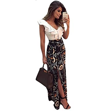 dkrear-lover Long Dress Summer Elegant Women Vestidos Largos Sweetheart Ruffle Top Mix Match Maxi