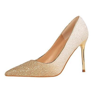 AgooLar Femme à Talon Haut Tire Couleurs Mélangées Chaussures Légeres