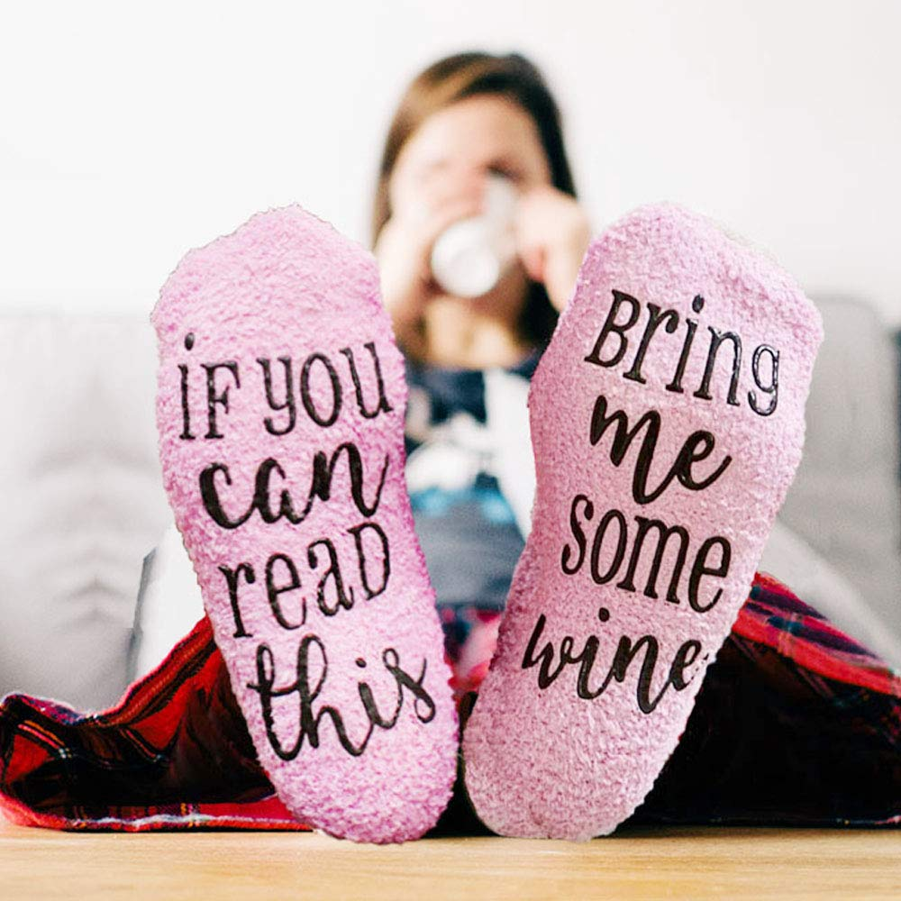 ''If you can read this bring me some wine'' funny novelty wine socks, wine accessories for wine lover and gifts for Lovers Couples Parents or Her Like Women Wife Girlfriend and He like Men Boyfriend H by Sowin (Image #3)