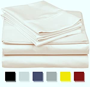 600-Thread-Count Best 100% Egyptian Cotton Sheets & Pillowcases Set - 4 Pc Ivory Long-Staple Combed Cotton Bedding Queen Sheet for Bed, Fits Mattress Upto 18'' Deep Pocket, Soft & Silky Sateen Weave