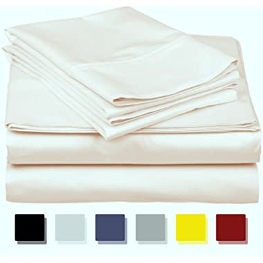 Thread Spread True Luxury 100% Egyptian Cotton - Genuine 1000 Thread Count 4 Piece Sheet Set- Color Cream,Size Queen - Fits Mattress Upto 18'' Deep Pocket