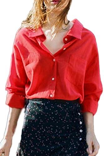 Las Mujeres Sueltas Solapa Botón Manga Larga Blusas Formales De Trabajo