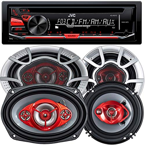 JVC KD-R370 Single Din in-Dash CD/Am/FM/Car Stereo W/Detachable Faceplate + 520 Watts 6x9 Inches (2 Speakers) + 350 Watts 6 Inches (2 Speakers) (Detachable Car Jvc Face Stereo)