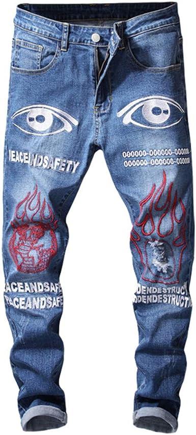 Amazon Com Pantalones Vaqueros Para Hombre Con Bordado Impreso Para Hombre Con Ribete 38 Clothing