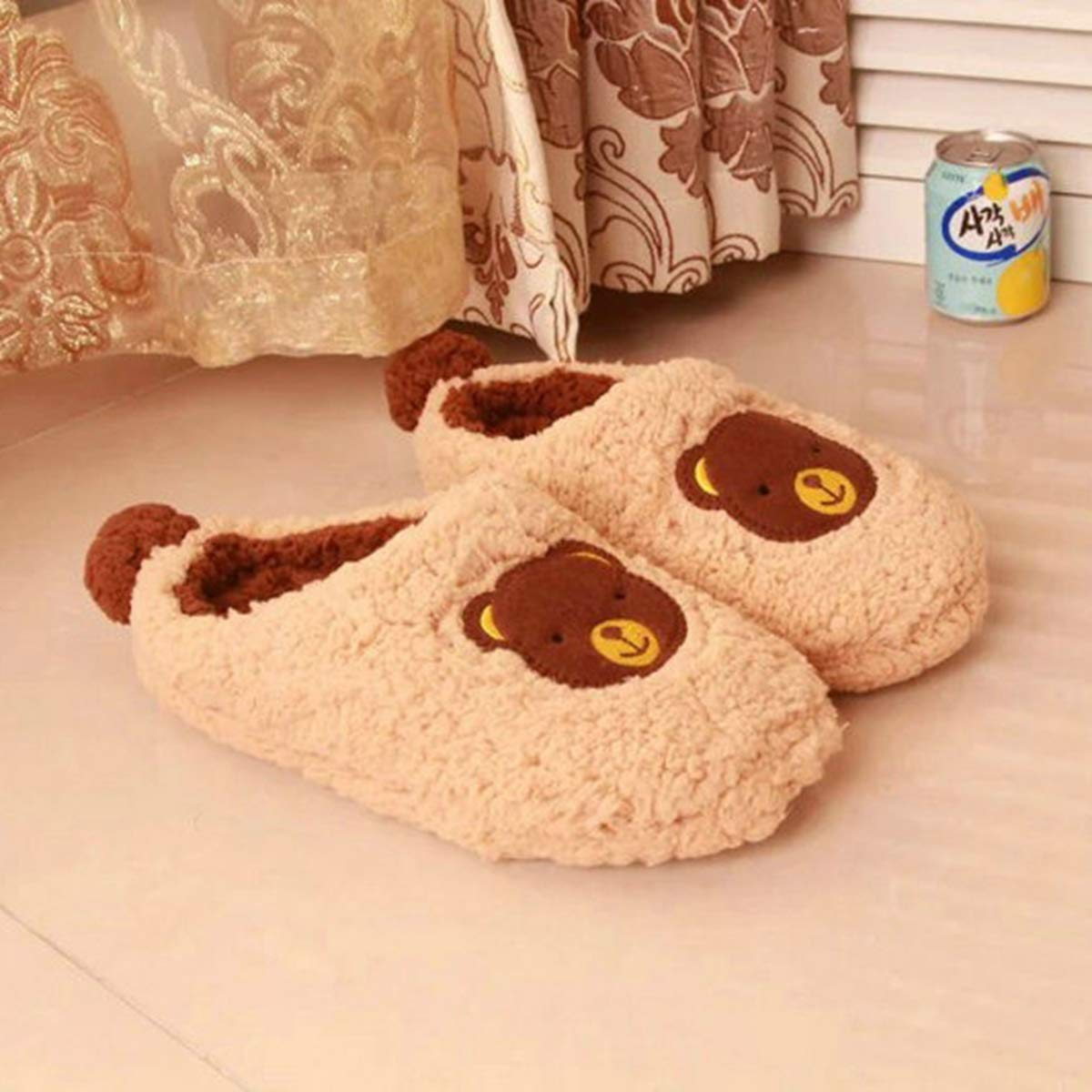 NOMIMAS Winter Cotton Slippers Parent-Child Home Indoor Lovely Bow Teddy Bear Short Plush Shoes Unisex Warm Floor Slippers