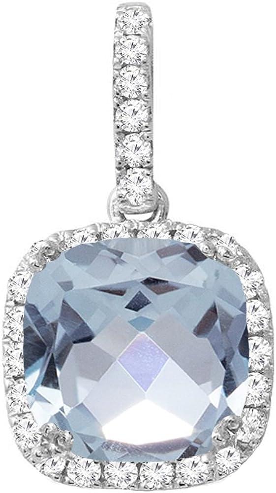 18K blanco oro 8mm cushion Gemstone & Round Diamante Señoras Halo colgante (cadena de plata incluidas)