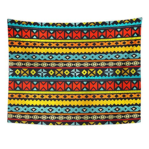 Remain Unique Tapestry Colorful African Tribal Ethnic Folk Abstract Geometric Design Mexican Border Wall Hang Decor Indoor House Made in Soft ()