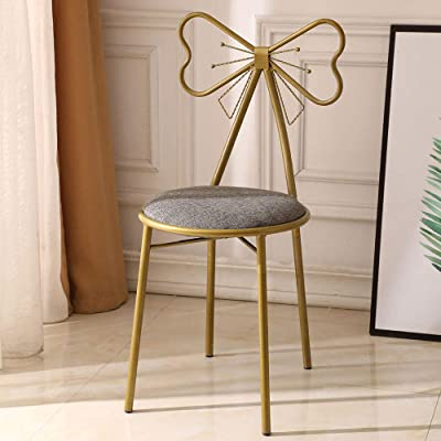 ZAILHWK Vanity Stool, Dressing Stool Butterfly Backrest Wrought Iron Leather Makeup Stool for Home Decoration Restaurant Club Lounge, Gray : Garden & Outdoor