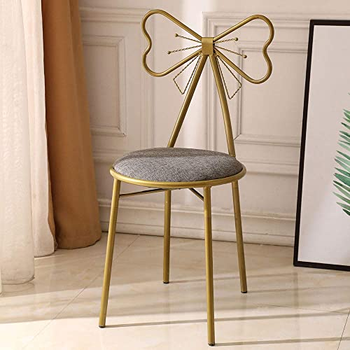 Vanity Dressing Stool Butterfly Iron Backrest Leather Makeup Cushion Dressing Chair