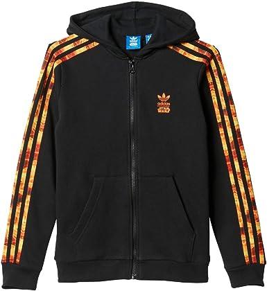 adidas J SW Hood Flame - Sudadera para niño, Color Negro/Naranja ...