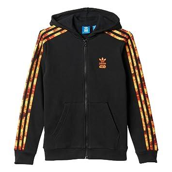 adidas J SW Hood Flame - Sudadera para niño, Color Negro/Naranja, Talla 128: Amazon.es: Zapatos y complementos