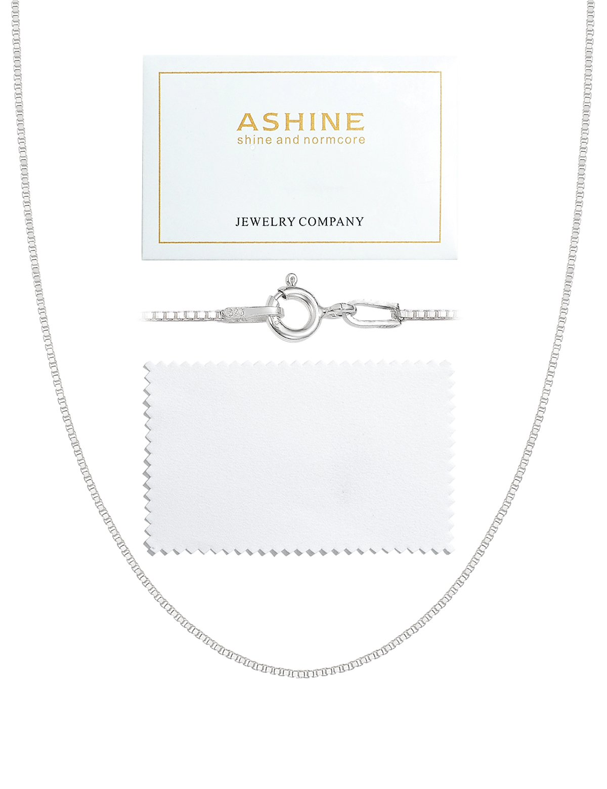 ASHINE 24 inches 925 Sterling Silver 1mm Box Chain Necklace Solid Nickle-Free Necklace Women Spring Ring Clasp Chain Italian Crafted Necklace Silver Polishing Cloth