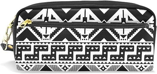CPYang - Estuche de piel con cremallera para lápices, diseño tribal azteca geométrico: Amazon.es: Oficina y papelería