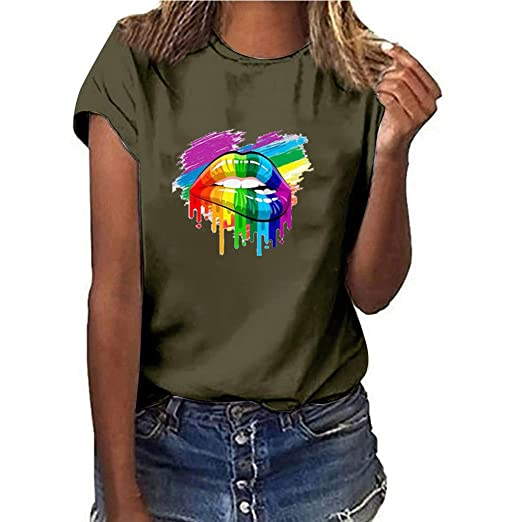 2957a977133c69 Women T-Shirt Casual Summer Short Sleeve Tee Letter Print Loose Blouse Tops  (S