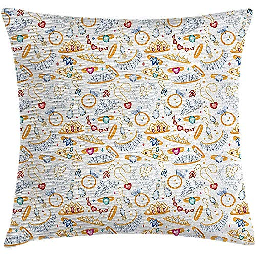 Johnnie Pearls Throw Pillow Cushion Cover, Pattern Accessories Diamond Rings Earring Figures Image Digital Print, Decorative Square Accent Pillow Case, 18 X 18 Inches, White - Accent Ring Cushion Diamond