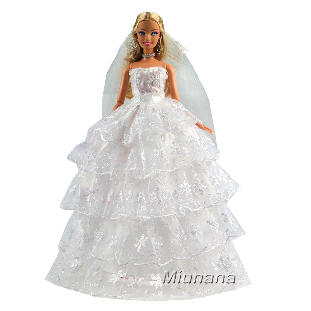 Amazon.es: Miunana 1 Vestido de Novia + 1 Velo Vestir Nupcial Princesa Ropa Boda para Muñeca Barbie Doll - Blanco: Juguetes y juegos