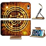 Luxlady Premium Apple iPhone 6 iPhone 6S Flip Pu Leather Wallet Case IMAGE ID 27545049 golden bitcoin symbol digital abstract background