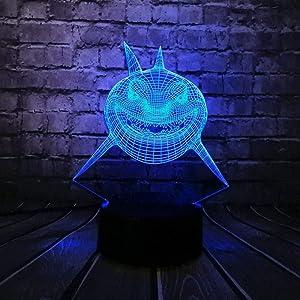 3D Night Light Fierce Shark Fish Shape 3D USB LED Lamp Underwater Ocean World Animal 7 Colors Changing Desk Table Night Lighting Kids Toys Gift