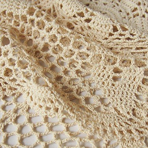 kilofly Handmade Crochet Lace Rectangular Table Runner 15 x 36 Inch, Beige by kilofly (Image #6)