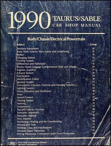 1990 Ford Taurus & Mercury Sable Repair Shop Manual Original