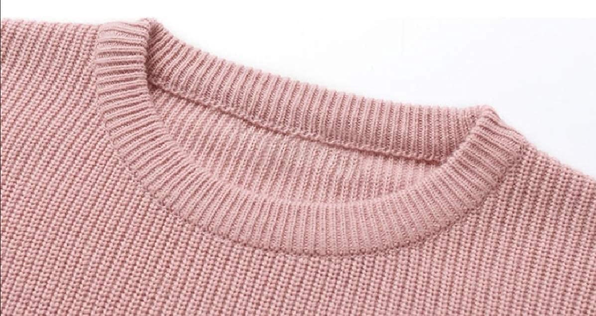 YUNY Mens Baggy Warm Knitted Pullover Long Sleeve Thermal Sweater Pink L