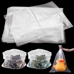 WFPLUS 100 Pack 18 x 24 inch 1 Mil Clear Plastic Flat Poly Bags, Clothing Merchandise Bags, for Food, Bread, Dough, Clothes Packaging, Storage, Gift Bag