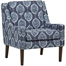 "Stone & Beam Modern Sweeping Arm Accent Chair, 28"" W, Damask Navy"